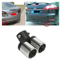 Stainless Steel Dual EXHAUST PIPES  Muffler Tip Tail Y-Pipe Bend - Chrome Color