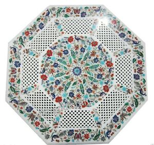 24 Inches Filigree Work Coffee Table Top with Multi Gemstones Center Table Top