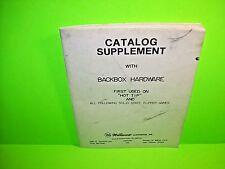 Williams 1979 Pinball Machine Catalog Supplement Backbox Hardware Hot Tip FLASH
