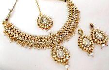 Indian Ethnic Gold Plated Kundan White Fashion Bridal Jewelry Necklace Set