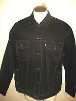 Levi's Mens Button up Denim Trucker Jean Jacket Black Gold Stitch 071580013 NWT