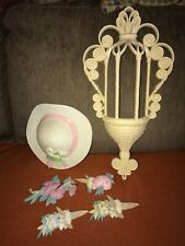 Vintage Burwood Wall Decorations Hat Hummingbirds Hanging