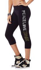 Zumba Peace Love  Capri Leggings Black Capri Length Medium NEW RARE!!