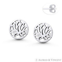 Lotus Flower Buddhist Buddhism Charm Oxidized .925 Sterling Silver Stud Earrings