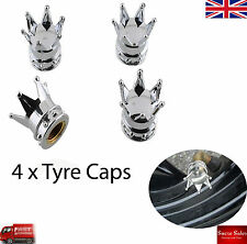 Silver Crown  Car Wheel Tire Tyre Valve Dust Caps Covers Tire Set of 4 UK