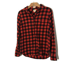J Crew Womens Red Black Plaid Flannel Popover Half Zip Shirt Medium