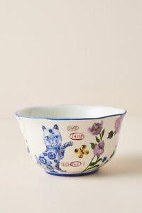 Anthropologie Nathalie Lete Titania Bowl French Floral Cat Rose Garden Oversized