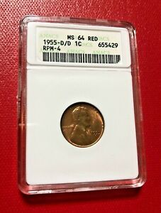 1955 D/D ONE CENT ANACS MS 64 RED RPM-4 OLD HOLDER