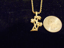 bling gold plated beach palm tree  pendant charm rope chain hip hop necklace hot