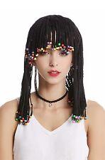 PARRUCCA DONNA UOMO TRECCE perle nero Afro CARAIBI rasta hippie