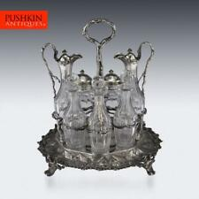 More details for antique 19thc victorian solid silver condiment set, hunt & roskell c.1870