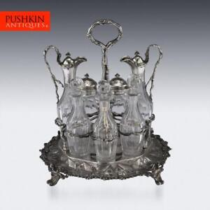ANTIQUE 19thC VICTORIAN SOLID SILVER CONDIMENT SET, HUNT & ROSKELL c.1870