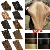 Women Fashion Hair Extensions Full Hair Clip in Best Weft Highlight 12PCS natual