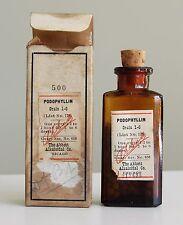 Antique/VTG Drug Store Pharmacy Apothecary Medicine Bottle PODOPHYLLIN RX217