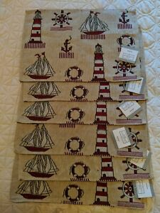 6 HOME CONCEPTS Coastal Tapestry Placemats Nautical Lighthouse Sailboats Anchor