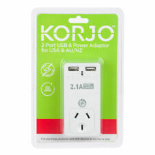 New Korjo Two Port USB Charger Adapter AC Plug Charging AUS AU/NZ/US USA/Canada