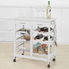 SoBuy®Kitchen Storage Trolley Cart with Wine Rack Shelf&Rolling WheelsFKW78-W,UK