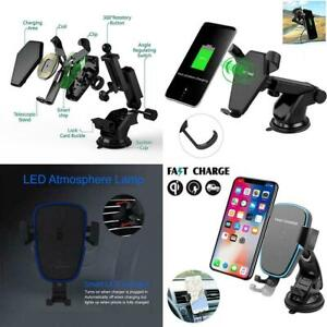 Qi Wireless Car Fast Charger Charging Mount Holder for iPhone 11 PRO MAX 8 7 6+