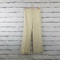 BANANA REPUBLIC Womens Size 0 Cream Linen Stretch Harrison Fit Wide Leg Pants 8