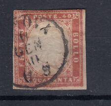 SARDEGNA 1860 40 CENTESIMI ROSA N.16Cc ANNULLO GENOVA C.S ORA USATO