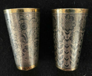 Russian/Soviet Niello 875 Silver Two Shot Tumblers