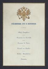 Tsar Alexander III Romanov Antique Russian Imperial Royal Luncheon Menu c. 1890