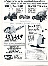 1972 Dealer Print Ad Kaye Corp Skilsaw Chain Saw Snapper Comet 30 Rider V21 V18