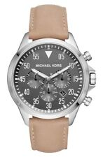 Michael Kors MK8616 Men's Gage Stainless-Steel and Taupe Leather Watch 45mm