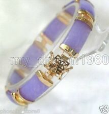 Pretty Natural Purple Jade Gemstone Gold Plated Fortune Lucky Link Bracelet