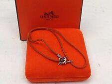 Auth HERMES Double Wrap Bracelet Orange/Silver Vintage 6E110330#