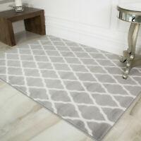 Grey Trellis Rugs Moroccan Modern Living Room Mats Giant Small Runner Size Cheap