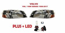 VOLVO VNL 300 VNM 200 SERIES 2000-2011 LED CHROME HEAD LIGHTS LAMP CORNER LIGHTS