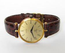 Vintage GUCCI Watch SWISS Signed Leather Strap Buckle Gold Plate LOGO Red Green