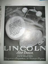 PUBLICITE DE PRESSE LINCOLN AUTOMOBILE VRAI CHRONOMETRE SAINT-DIZIER AD 1930