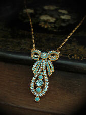 Vintage Butler & Wilson B&W Aquamarine Crystal & Turquoise Bow Drop Necklace