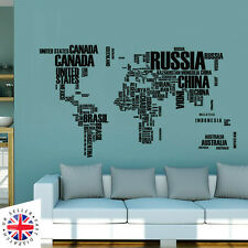WORLD MAP Wall Sticker Art Decal Vinyl Decor Home Bedroom Office Countries Words