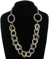 Statement Silver Gold Two Tone Round Mesh Chain Link Necklace