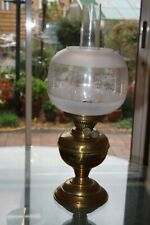 More details for vintage duplex brass oil lamp complete with shade and chimney