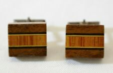 Vintage Mens Multi Tone Square Wood & Sterling Silver Cuff Links SN