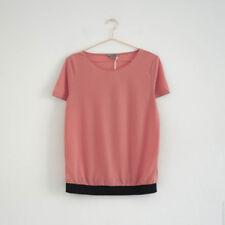 HOF115:COS Bluse mit gummi kirschrosa / Contrast hem top sheer viscose cerise S