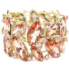 Elegant Bridal Formal Silver Peach & Gold  Marquise Crystal Statement Bracelet