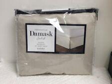 Charter club-Damask Solid White/Beige Queen Bedskirt NIP