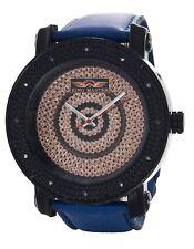 King Master Men's Diamond Black Dial Blue Leather Strap Watch