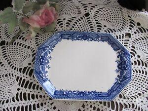 "Vintage - Blue and White Tureen Plate, Platter flor small gravy boat Japan 8"""