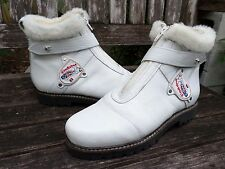 DIRNDL BUA white leather Sherpa wool zip winter ski ankle boots 40 9 NEW
