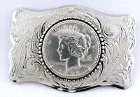 Vintage REAL 1922 Peace Silver Dollar Silverplated Belt Buckle EBS8332