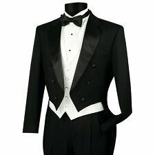 VINCI Men's Black Formal Classic Fit Tailcoat Tuxedo Suit w/ White Vest NEW