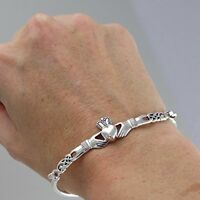 Claddagh Heart Bangle Bracelet - 925 Sterling Silver - Irish Love Loyalty Friend
