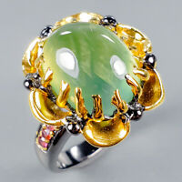 Handmade Natural Prehnite 925 Sterling Silver Ring Size 8.5/R125498