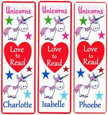 3 CHILDRENS PERSONALISED BOOKMARKS,UNICORNS LOVE TO READ.18cm x5cm laminated